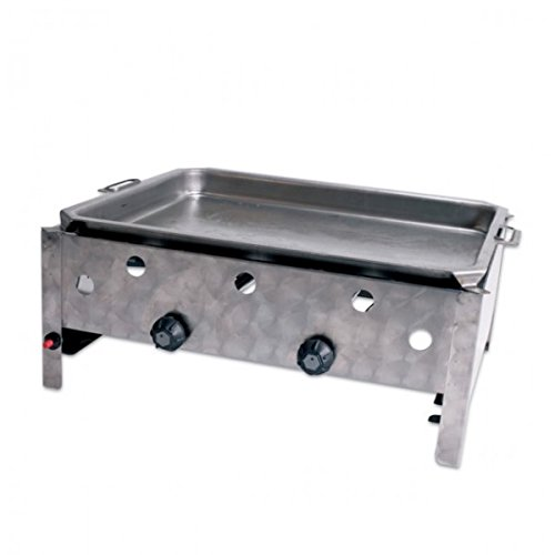 HotFire BBQ Edelstahl Gasbräter 2-Regler mit Stahlpfanne incl Anschlüsse NEU