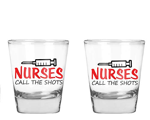 AW Fashions Nurses Call The Shots - Funny Nurse Party Favor Gift - 2 Pack Round Set of Shot -
