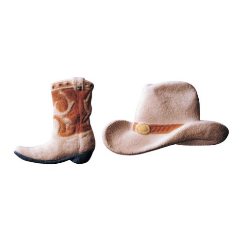 Lucks Dec-Ons Decorations Molded Sugar Cake Topper, Cowboy Hat and Boot Assortment, 3 - 3 3/4 Inch, 24 Count (Hat Boots)