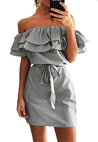 leyay Womens Ruffle Off The Shoulder Striped Mini Dresses Summer Casual Strapless Sundress