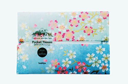 ポケットティッシュ | 高級友禅和紙 水色桜