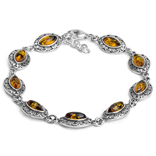 Sterling Silver Amber Marquise Bracelet 7.5 Inches