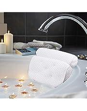 AmazeFan Badkussen, luxe bad- en spakussen met 4D-Air-mesh-technologie en 7 zuignappen. Ondersteuning voor hoofd, rug, schouders en nek. Geschikt voor badkuipen en de thuisspa.