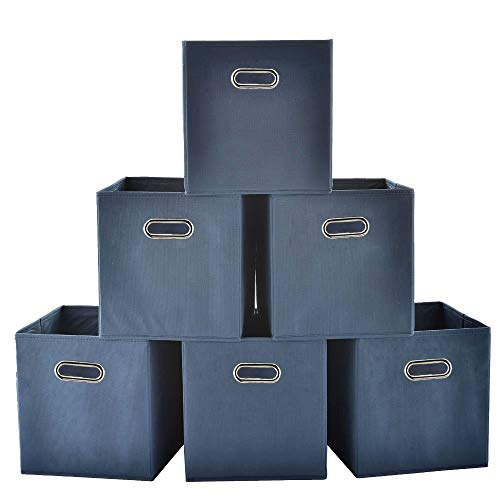 Price comparison product image GLANZHAUS Collapsible Set of 6 Metal Handle Blue Fabric Storage Cubes,  Fabric Drawers Cube Storage Bins For Nursery,  Closet,  Shelf,  Office