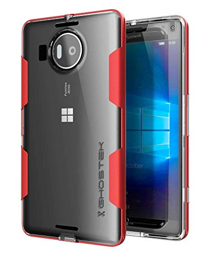 Microsoft 950 XL Case, Ghostek Cloak Series for Nokia Lumia 950 XL Slim Hybrid Impact Armor Cover Carrying Case | HD Screen Protector | Warranty Exchange | Aluminum Bumper | Ultra Fit (Red)