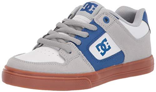 (DC Boys' Pure Skate Shoe, Grey/Blue/White, 5.5 M US Big Kid)