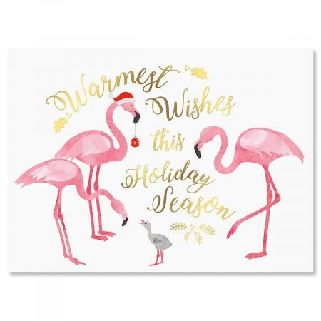 Deluxe Christmas Cards Set - Flamingo Deluxe Personalized Christmas Cards - Set of 14
