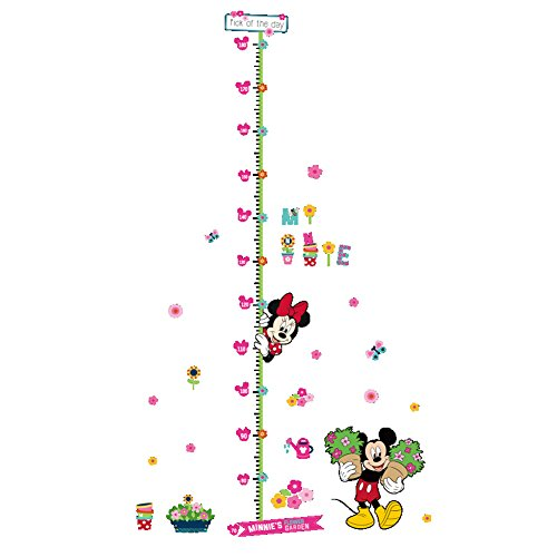 Growth Chart Wall Sticker - Height Measurement Growth Chart Garden Mickey Minnie Removable Wall Vinly Decal Decor Sticker