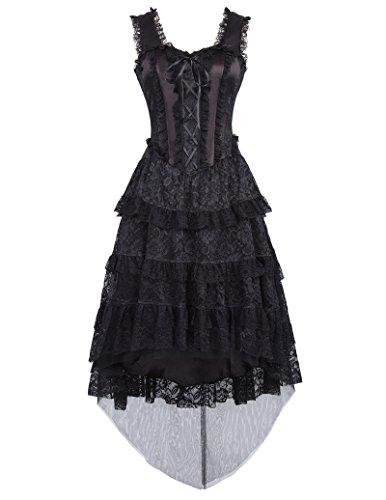Damen Kleid Poque Corsagenkleid Gothic Steampunk Schwarz 1 Kleid Bp353 schwarz Lang Belle qXtdAA