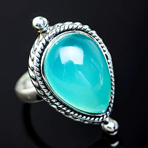 Ana Silver Co Aqua Chalcedony Ring Size 7.25 (925 Sterling Silver) - Handmade Jewelry, Bohemian, Vintage RING953098 from Ana Silver