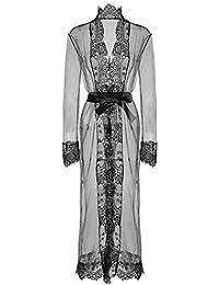 Women Sexy Long Silk Kimono Dressing Gown Babydoll Lace Lingerie Bath Robe 2e3f7cb36