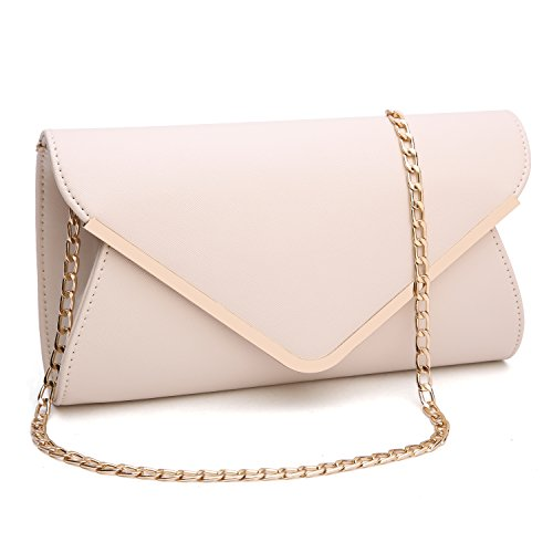 Womens Faux Leather Envelope Clutch Bag Evening Handbag Shouder Bag Wristlet Purse With Chain - Clutch Quilted Oversized