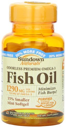 Odorless Premium Omega-3 Fish Oil 1290 mg Dietary Supplement