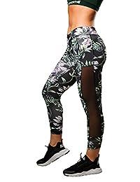 Women's Workout Gym High-Waist V-Shape Waistline Leggings Mesh