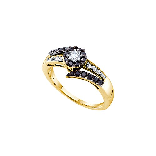 14kt Yellow Gold Womens Round Black Colored Diamond Solitaire Ring 1/2 Cttw by JawaFashion