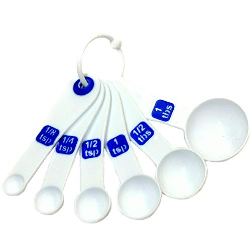"""Chef Craft 6-Piece Plastic Measuring Spoon, 4-1/2"""", White with Blue"""