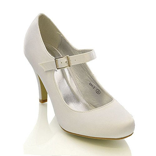 WOMENS BRIDAL STILETTO WHITE IVORY SATIN LADIES HEELS WEDDING BRIDESMAID COURT SHOES SIZE 3 4 5 6 7 8 (UK 7 / EU 40 / US 9, White Satin)