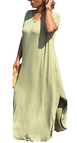 Pockets Women's Dress Green Sleeve Maxi Long Plain T with Loose Short Split Bluewolfsea Casual Shirt ZdB7Swqq