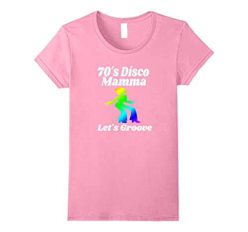 [Women's 70's Disco Mamma Let's Groove Disco Party Shirt 70's Party Medium Pink] (Disco Theme Costumes)