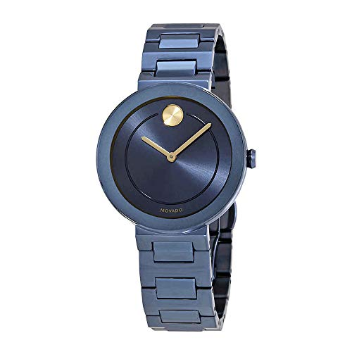 (Movado Bold Blue Dial Stainless Steel Ladies Watch 3600499)