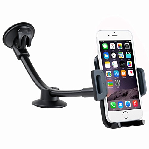 Car Phone Mount, DHYSTAR Universal Windshield Dashboard Long Arm Cell Phone Car Holder Mount Cradle Bracket Compatible for iPhone Galaxy Most Smartphones 3.5-6 -Black