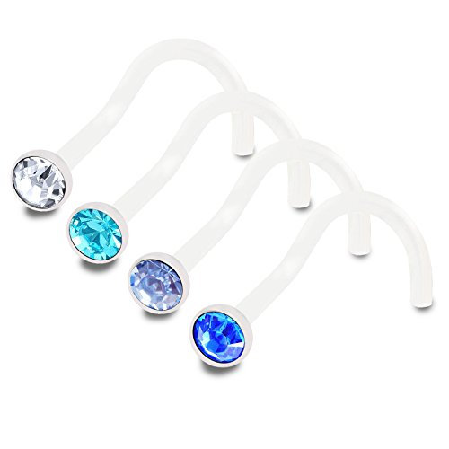 4pcs 18g 1.0mm nose stud screw Flexible Acrylic Nostril Rings Piercing jewelry 2.5mm Crystal BPAC CR LSP SP ()