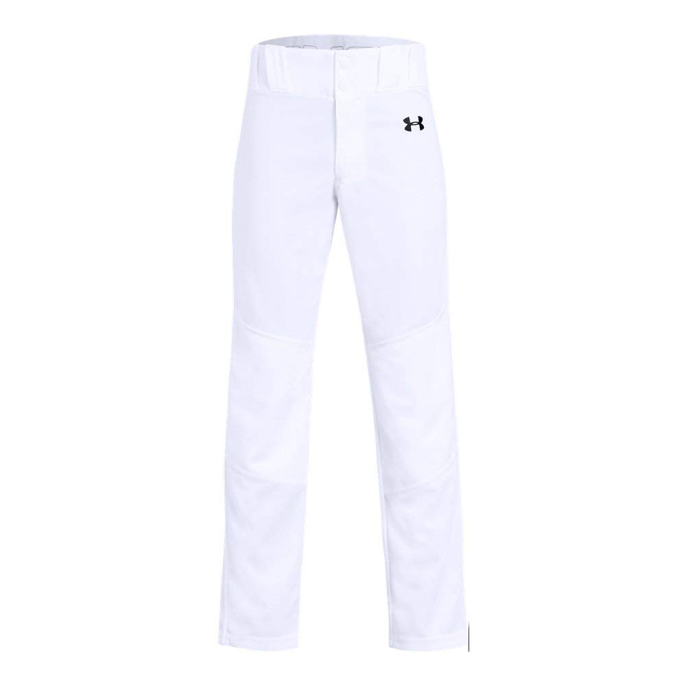 Under Armour Boys Utility Relaxed Baseball Pant, White (100)/Black, Youth Medium by Under Armour