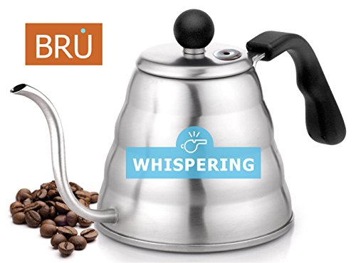 Pour Over HISSING Coffee Kettle - BRU USA Premium Quality Gooseneck Stainless Steel Drip Pot for Coffee & Tea, 1.2L