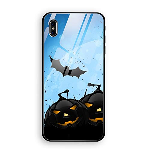 (Phone X Case with Phone stents,Evil Halloween Pumpkin Luxury Ultra Thin Slim Anti-Scratch Hard Tempered Glass Back)