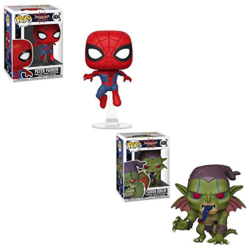 Funko POP! Games Marvel Comics Spider-Man Into The Spiderverse: Peter Parker Bobble-Head and Green Goblin Bobble-Head Toy Action Figures - 2 POP Bundle