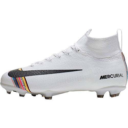 Nike Youth Mercurial Superfly 6 CR7 FG Soccer Cleats (5, White/Black-Pure Platinum)
