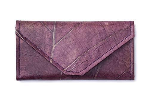 Leaf Leather Envelope Clutch Wallet - Handmade Womens Purse, Pockets, Zip Pouch - - Zip Leaf