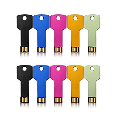 JUANWE 5 Pack USB Flash Drive USB 2.0 Metal Thumb Drives Jump Drive Memory Stick Key Shape - Black/Blue/Pink/Gold/Green from JUANWE