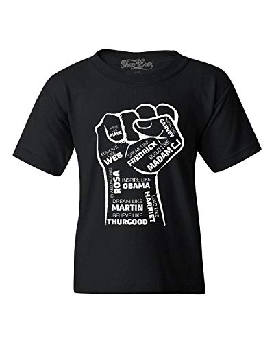 Shop4Ever Inspiring Black Leaders Fist Youth's T-Shirt Youth Medium Black 0