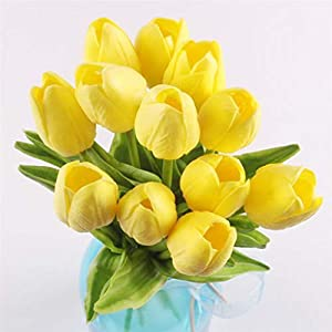 12PCS Tulip Artificial Flower Latex Real Bridal Wedding Bouquet Home Decor 29