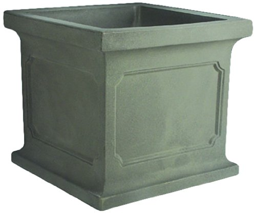 Crescent Garden A033780 24 x 24-inch Estate Square Planter in Weathered Grey-Stone