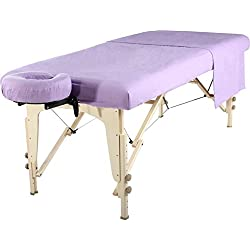 Master Massage Universal Massage Table Flannel Sheet Cover Set 3 in 1 (In 6 Colors) Table Cover, Face Cushion Cover, Table Sheet (Purple)