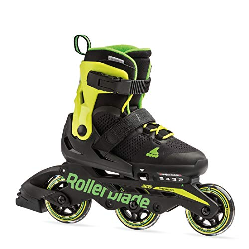 Rollerblade Micro Blade 3Wd Kid's Adjustable Inline Skate, Black/Lime, Size Kids 5-8