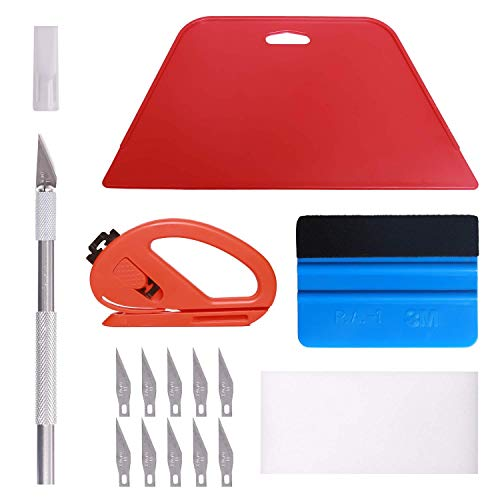 Wallpaper Smoothing Tool Kit, Multi-Function 15 Pcs Smoother Tools Set for Contact Paper Peel and Stick Wallpaper Car Wrap Vinyl Window Tint Glass Film Wallpaper Glue Adhesive Brush Tray Roller Knife