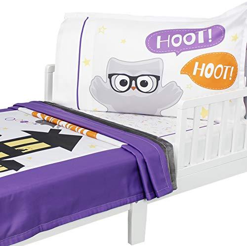 3pc RoomCraft Halloween Boo Buddies Toddler Bedding Set Holiday Blanket Sheet and Pillowcase Set ()