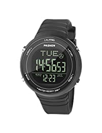 HIwatch Digital Sports Watch Multiple Alarm with LED Screen Large Face for Boys Girls Youth Student Watches and Waterproof Casual Luminous Stopwatch Alarm Simple Wrist Watch, Black