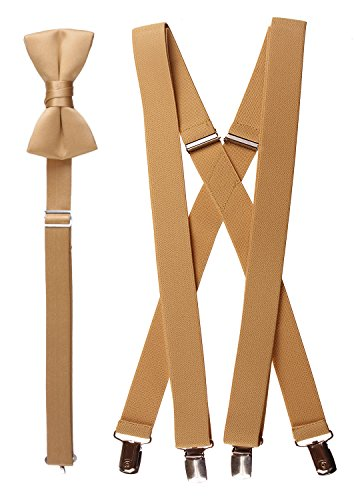 Tuxgear Baby-Boys Bow Tie and Suspender Set, Antique Gold, Toddler 25 Inch (25