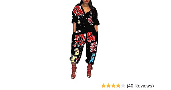 7c386aa7c7f2 Amazon.com  LKOUS Womens Casual Cartoon Printing Short Sleeves High Waist  One-Piece Jumpsuits Button Romper Playsuit  Clothing