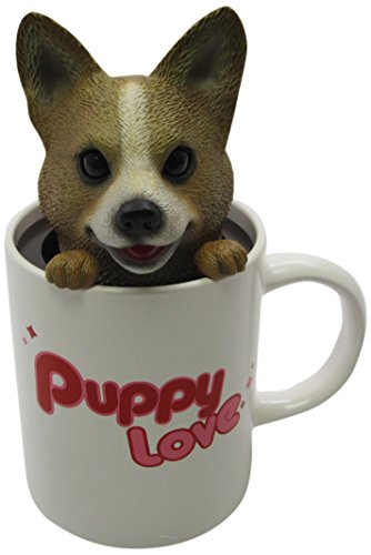 Idea Max Peek-A-Pet Bobble Heads Puppy Love Corgi (Mug)