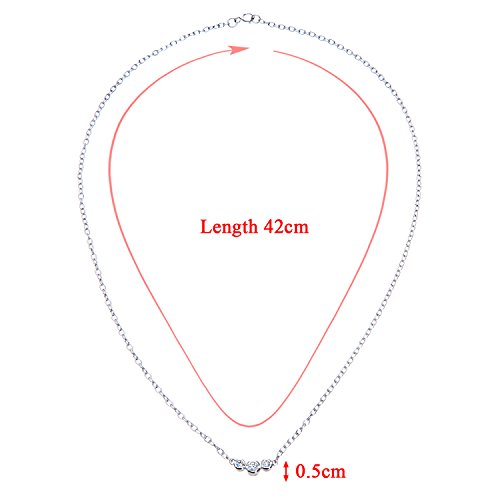 Revoni Bague en or blanc 9carats-Collier Femme-diamant, Trilogie Design