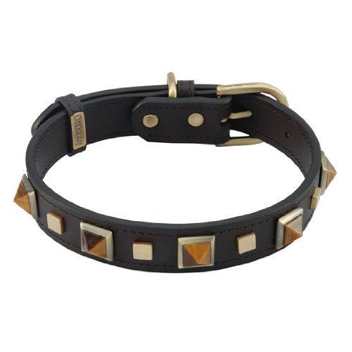 "Tiger Eye Rock & Roll Leather Dog Collar - Medium, Width: 5/8"", Neck 12""-14"")"