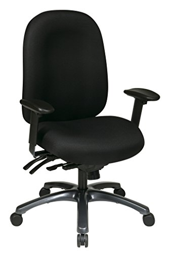 (Office Star High Back Molded Seat and Back with Built-in Lumbar Support and Seat Slider with Titanium Finish Base,)