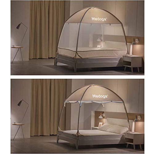 Mosquito Net Pop Up for Beds Full, Over Size Insect Netting No Assembly Required, Polyester Mosquito Curtains 3 Door for Baby Toddlers Kids Adult (Color : Brown, Size : 5 ft Bed) by Mosquito Net (Image #1)