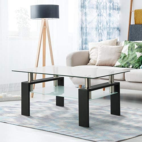Henf Rectangle Glass Coffee Table, Modern Side Center Tables with Lower Shelf, Clear Tempered Glass Top with Black Metal Legs, Living Room Furniture