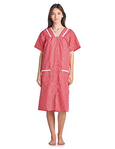 Casual Nights Women's V-Neck Snap-Front Lounger House Dress - Red - Large (Front Robe Day Dress)